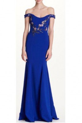 Marchesa Notte Off Shoulder Blue Stretch Crepe Evening Gown Dress