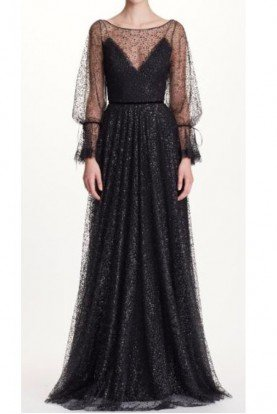 Marchesa Notte Gorgeous Black Sheer Long Sleeve Evening Gown