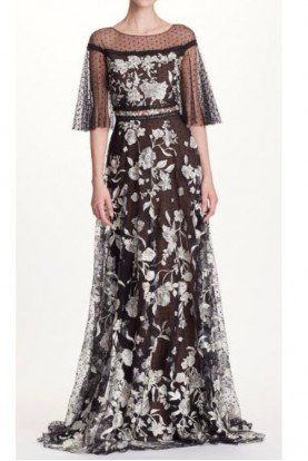 Sheer Sleeve Embroidered Evening Gown A Line Dress