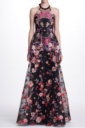 Black Sleeveless Halter Neck Floral Evening Gown