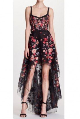 Black Sleeveless Floral High Low Evening Gown