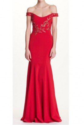 Red Off Shoulder Stretch Crepe Evening Gown Dress