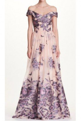 Blush Nude Floral Off the Shoulder Evening Gown