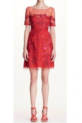 Marchesa Notte Red Short Sleeve Embroidered Cocktail Dress