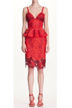 Marchesa Notte Red Lace Sleeveless Embroidered Cocktail Dress