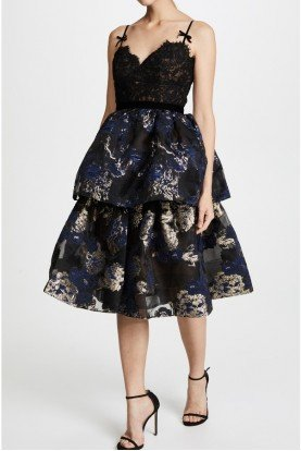Black Floral Sleeveless Tiered Cocktail Dress
