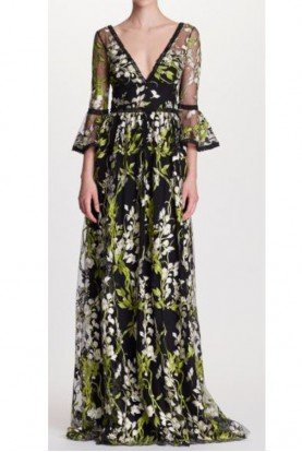 Black Floral Bell Sleeve Evening Gown