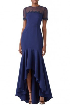 Navy Blue High Low Illusion Gown Short Sleeve