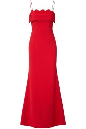 Cherry Red Crepe Gown Evening Dress