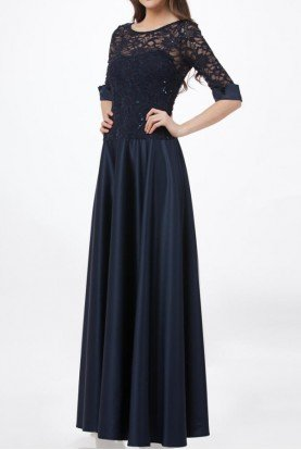Navy Sequin Lace Sleeve Gown Evening Dress