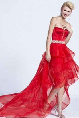 Madonna Inspired Red High Low Dress