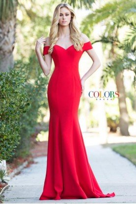 Colors Dress Red Off Shoulder Stretch Crepe Gown Long Dress