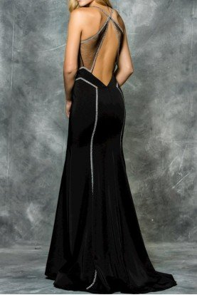 Colors Dress 1666 Black Sexy Cutout Gown Open Back Dress