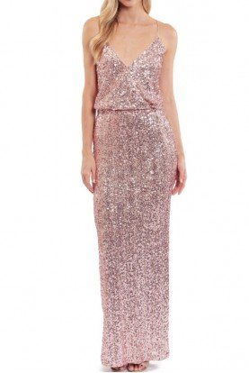 Badgley Mischka  SEQUIN BLOUSON  GOWN Blush Rose Gold bl2684