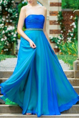 Colors Dress Ombre Strapless Blue Green Silk Ball Gown Dress