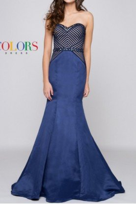 Colors Dress Navy Strapless Mikado Mermaid Evening Gown Dress