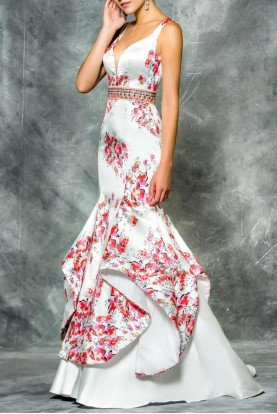 Colors Dress Mikado Print White Ruffle Mermaid Prom Dress Gown