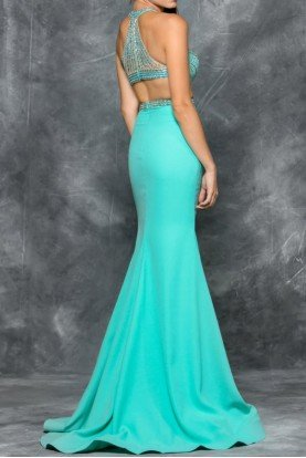 Aqua Halter Beaded Cut Out Gown Prom Dress