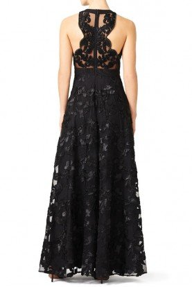 Black A line Gown Embellished Lace Ball Gala