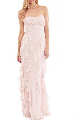 Blush Strapless Ruffled Gown Bridesmaid Dress