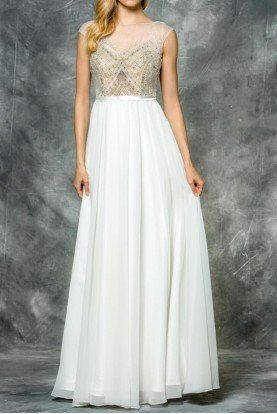 Colors Dress 1586 White Gold A line Gown Silk Chiffon Beaded