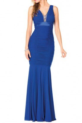 Colors Dress G218 Jeweled Insert Royal Blue Jersey Gown Dress