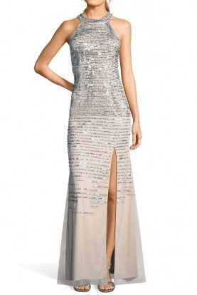 sequin beaded halter gown with slit skirt