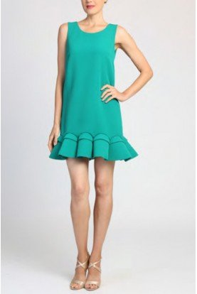 Badgley Mischka Green Sleeveless Mini Cocktail Dress