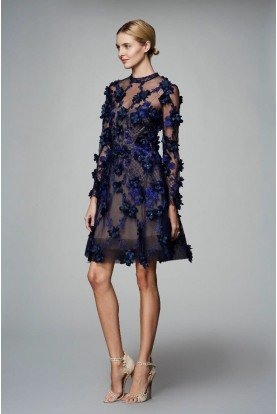 Marchesa Notte Navy Long Sleeve 3D Floral Party Cocktail Dress