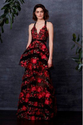 Black Red Floral Embroidered Tiered Gown Dress