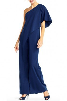 Navy Blue Flutter One Shoulder Jumpsuit