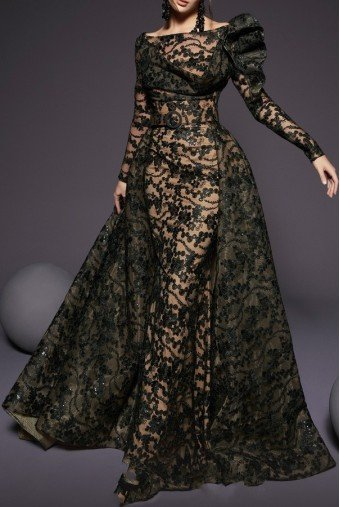 Fouad Sarkis Couture Black Lace Off Shoulder Long Sleeve A Line Gown
