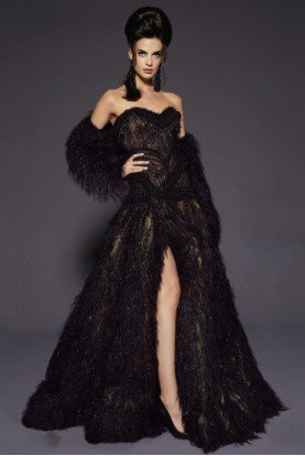 Fouad Sarkis Couture Black Strapless Feather Evening Gown Dress