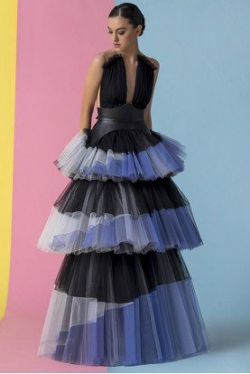 Black Purple Tiered Sleeveless Samy Evening Gown
