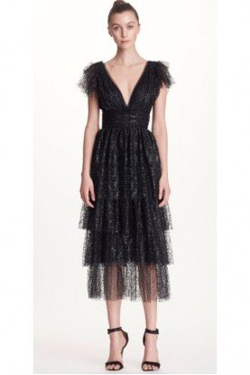 Marchesa Notte Black Short Sleeve Tiered Midi Tea Dress