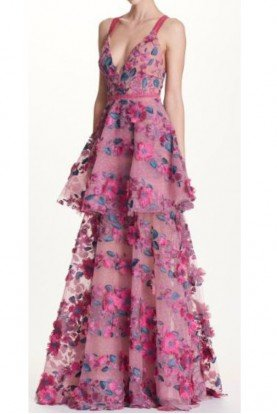 Marchesa Notte Pink Sleeveless Floral Embroidered Tiered Gown