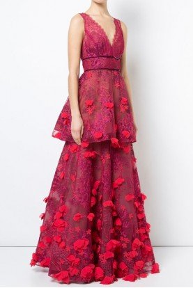 Marchesa Notte Red Sleeveless 3D Embroidered Gown Tiered Dress
