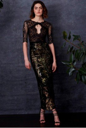 Marchesa Notte Black Sequin Lace Dress with Sleeves Midi Tea Gown