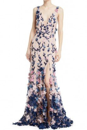 Marchesa Notte Pastel 3D Flower Sleeveless Embroidered Gown Dress