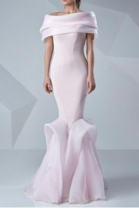 Pastel Pink Off Shoulder Organza Evening Gown