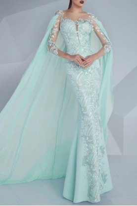 MNM Couture Mint Aqua Cape Lace Evening Dress Bridal Gown