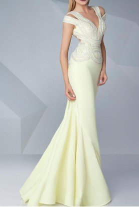 MNM Couture Pastel Yellow Beaded Bodice Evening Gown Dress