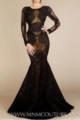 MNM Couture Black Lace Long Sleeve Corded Bodice Evening Gown