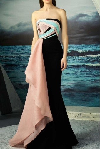 MNM Couture Strapless Colorblock Gown Evening Dress
