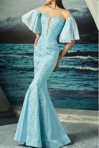 MNM Couture Blue Mint Flutter Sleeve Off Shoulder Mermaid Gown