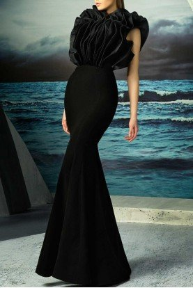 Black Sleeveless Ruffled Couture Evening Gown