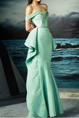 Mint Off Shoulder Couture Evening Gown Dress