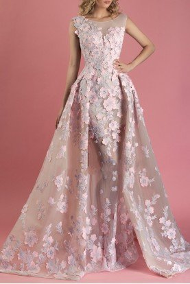 Pink Floral Cap Sleeve Evening Gown Dress