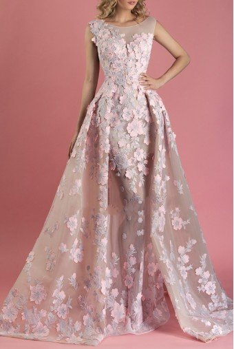 MNM Couture Pink Floral Cap Sleeve Evening Gown Dress