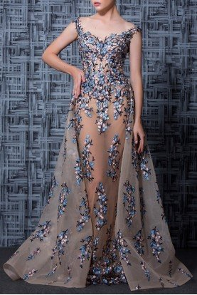 Nude Blue Beaded Floral Off Shoulder Evening Gown